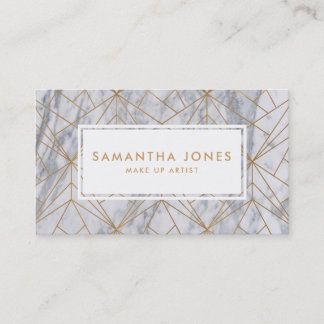 Gold Marble Pattern Make Up Artist Business Cards