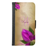 Gold Marble Pink Floral Wallet Phone Case For Samsung Galaxy S6