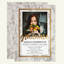 Gold & Marble Typography | Photo Graduation Party Invitation