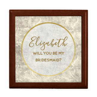 Gold Marble Will You Be My Bridesmaid Proposal Box