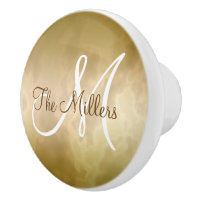 Gold Marble with Name and Initial Ceramic Knob