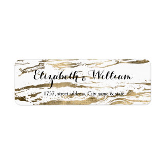 Gold marbleized abstract wedding design label