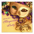 Gold Mardi Gras Masquerade Party Invitations