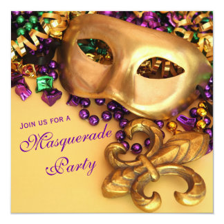 Gold Mardi Gras Masquerade Party Invitations