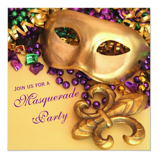 Gold Mardi Gras Masquerade Party Invitations | Zazzle.Com