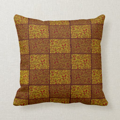 Gold Maroon Floral Pillow