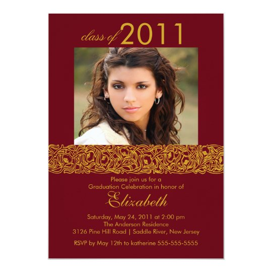 Gold & Maroon Red Photo Graduation Invitation