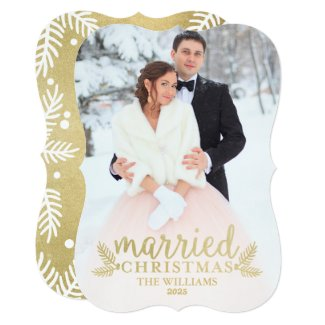 Gold Married Christmas | Holiday Photo Card