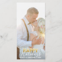 Gold MARRIED First Happy Holidays | Add PHOTO Holiday Card