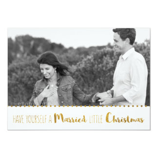 Gold, Marry and Bright Christmas Save the Date 5x7 Paper Invitation Card