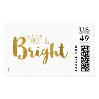 Gold, Marry and Bright Christmas Save the Date Stamp