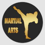 GOLD MARTIAL ARTS ROUND STICKERS