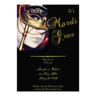 Gold Mask on Black Mardi Gras Party Personalized Invite