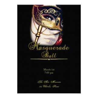 Gold Mask on Black Masquerade Party Announcements