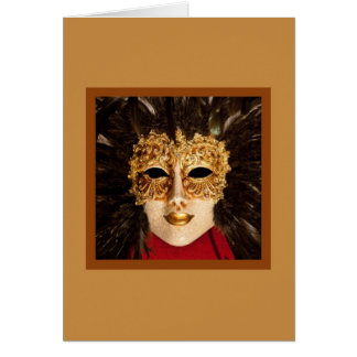 Gold Mask With Feathers Card