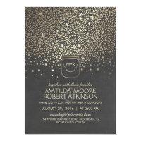 Gold Mason Jar Fireflies Rustic Wedding Invitation
