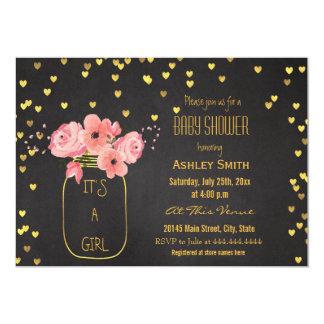 Gold Mason Jar Hearts Chalkboard Baby Shower Card
