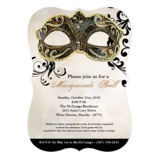 Gold Masquerade Ball Mask Costume Halloween Part Card