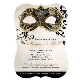 Gold Masquerade Ball Mask Costume Halloween Part Card