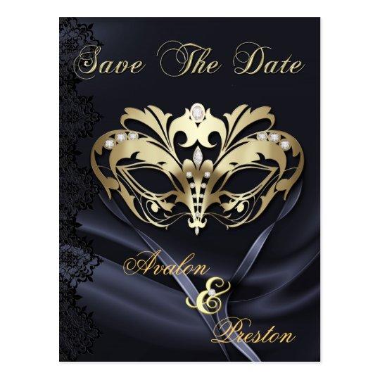 Gold Masquerade Black Jewel Save The Date Postcard