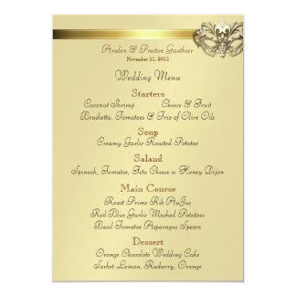 "Gold Masquerade Black Jewel Wedding Menu 5"" X 7"" Invitation Card"