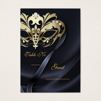 Gold Masquerade Black Jeweled Table PlaceCard Business Card
