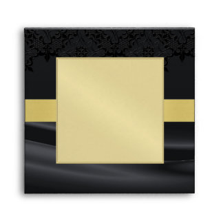 Gold Masquerade Black Jeweled Wedding Envelope