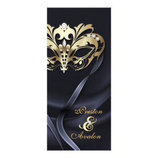 Gold Masquerade Black Jeweled Wedding Program