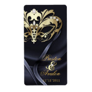 Gold Masquerade Black Jeweled Wedding Wine Label