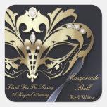 Gold Masquerade Black Party Sticker