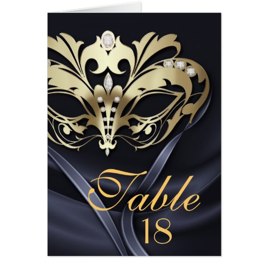 Gold Masquerade Black Table Number Card