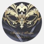 Gold Masquerade Black Wedding Sticker