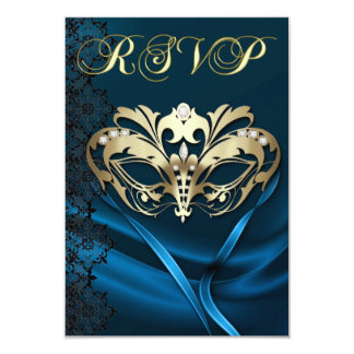 Gold Masquerade Blue Jeweled RSVP Invitation