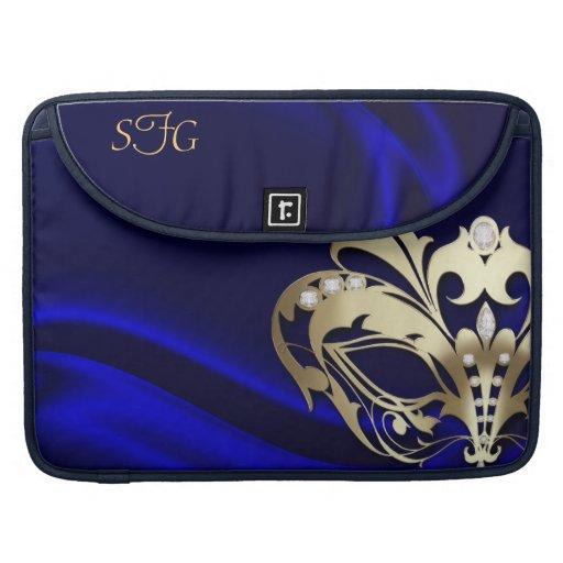 Gold Masquerade Blue Silk 15' Macbook Sleeve MacBook Pro Sleeve