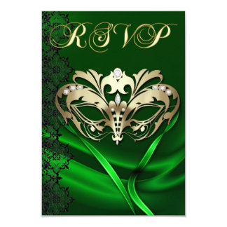 Gold Masquerade Green Jeweled RSVP Invitation