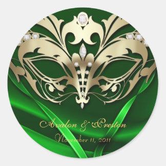 Gold Masquerade Green Wedding Sticker