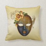 Gold Masquerade Mask and Rose Throw Pillow