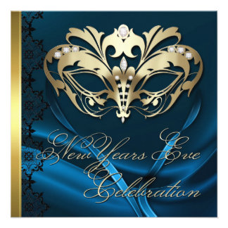 Gold Masquerade Mask Blue New Years Invitation