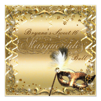 Gold Masquerade Mask Elegant Ball Birthday Party Card