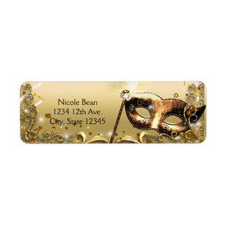Gold Masquerade Mask Elegant Ball Birthday Party Label