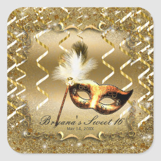 Gold Masquerade Mask Elegant Ball Birthday Party Square Sticker