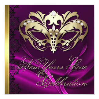 "Gold Masquerade Mask Pink New Years Invitation 5.25"" Square Invitation Card"