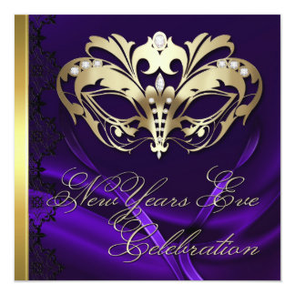 Gold Masquerade Mask Purple New Years Invitation