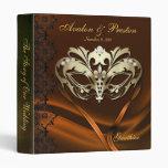 Gold Masquerade Orange Jeweled Wedding Binder