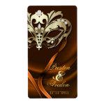 Gold Masquerade Orange Jeweled Wedding Wine Label