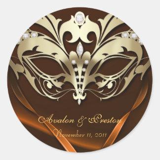 Gold Masquerade Orange Wedding Sticker