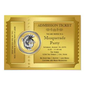 Gold Masquerade Party Card
