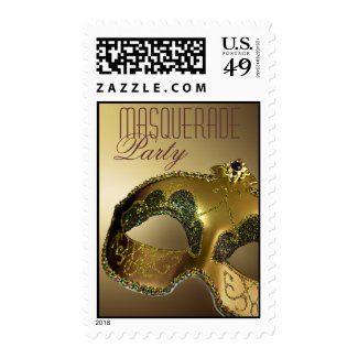 Gold Masquerade Party Venetian Mask Postage