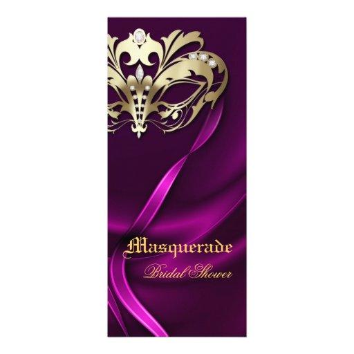 Gold Masquerade Pink Bridal Shower Invitation