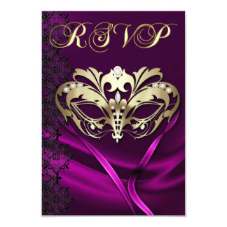 Gold Masquerade Pink Jeweled RSVP Invitation